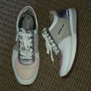 mk allie trainer sneakers cement soft pink silver